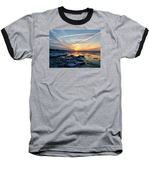 Ice On The Delaware River Baseball T-Shirt by Ed Sweeney
