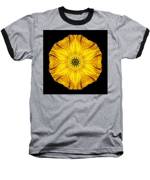Iceland Poppy Flower Mandala Baseball T-Shirt by David J Bookbinder