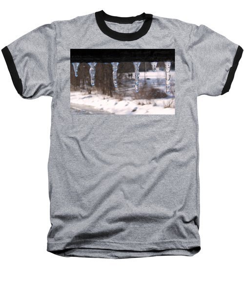 Baseball T-Shirt featuring the photograph Icicles On The Bridge by Nina Silver