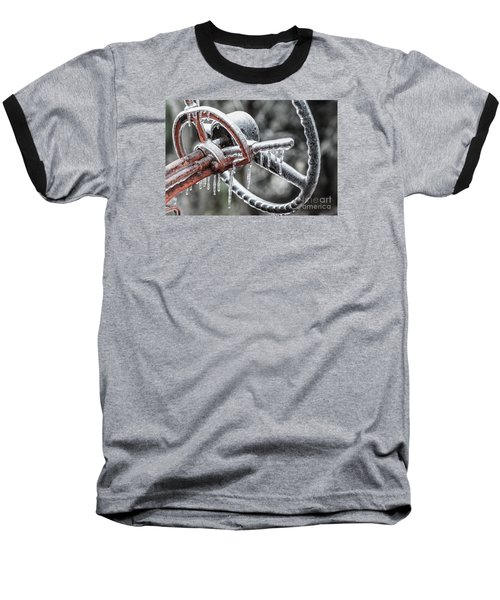 Baseball T-Shirt featuring the photograph Icy Allis- Chalmers Tractor by Debbie Green