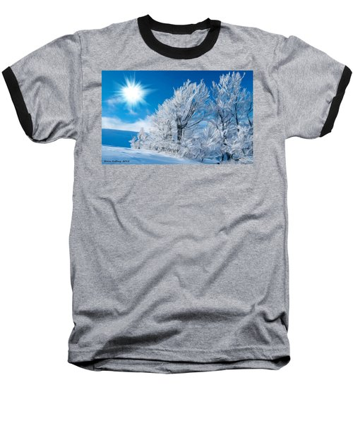 Icy Trees Baseball T-Shirt by Bruce Nutting