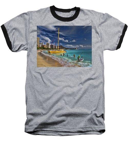 Idyllic Waikiki Beach Baseball T-Shirt