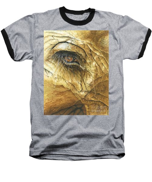 Baseball T-Shirt featuring the painting If You Could See What I've Seen... by Barbara Jewell