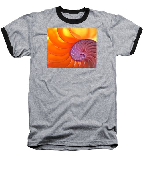 Illuminated Translucent Nautilus Shell With Spiral Baseball T-Shirt