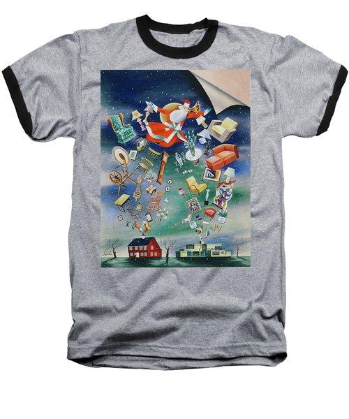 Illustration Of Santa Claus Baseball T-Shirt