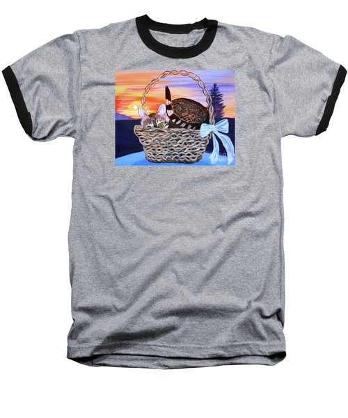Baseball T-Shirt featuring the painting I'm Hiding   Oil Painting by Phyllis Kaltenbach