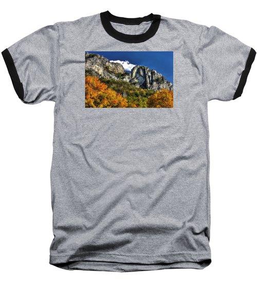 Imposing Seneca Rocks - Seneca Rocks National Recreation Area Wv Autumn Mid-afternoon Baseball T-Shirt by Michael Mazaika