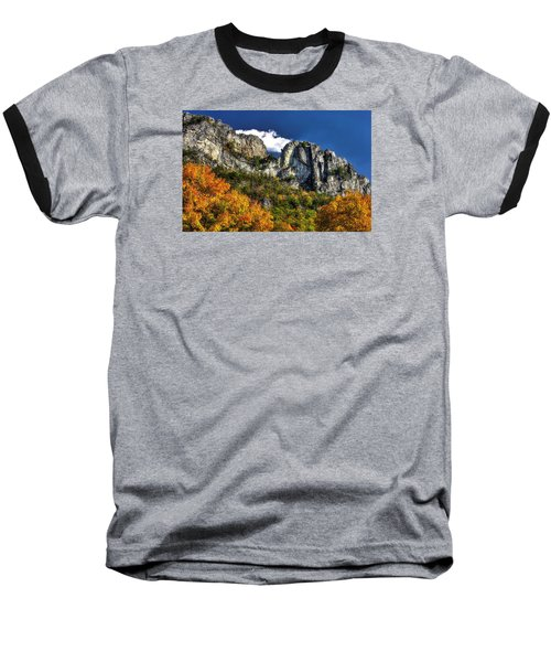 Imposing Seneca Rocks - Seneca Rocks National Recreation Area Wv Autumn Mid-afternoon Baseball T-Shirt