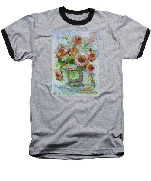 Baseball T-Shirt featuring the painting Impressionist Roses 2 by Mary Wolf
