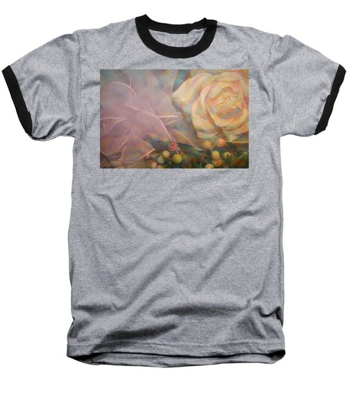 Baseball T-Shirt featuring the photograph Impressionistic Pink Rose With Ribbon by Dora Sofia Caputo Photographic Art and Design