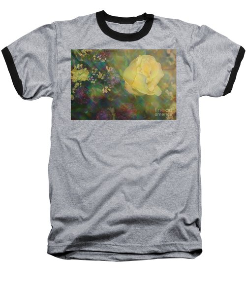 Baseball T-Shirt featuring the photograph Impressionistic Yellow Rose by Dora Sofia Caputo Photographic Art and Design