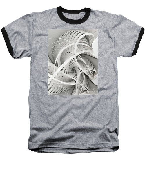 In Betweens-white Fractal Spiral Baseball T-Shirt by Karin Kuhlmann