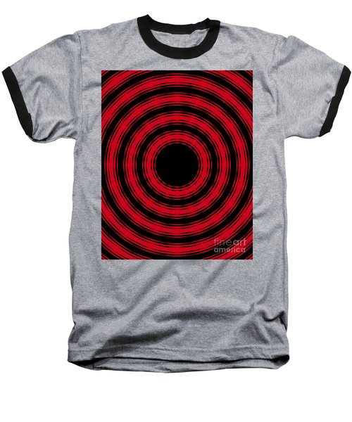 Baseball T-Shirt featuring the painting In Circles- Red Version by Roz Abellera Art
