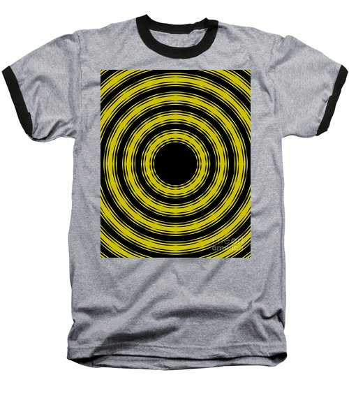 Baseball T-Shirt featuring the painting In Circles- Yellow Version by Roz Abellera Art