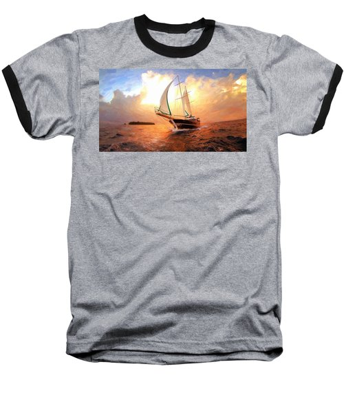 In Full Sail - Oil Painting Edition Baseball T-Shirt
