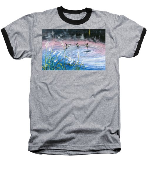 Baseball T-Shirt featuring the painting In The Dusk by Melly Terpening