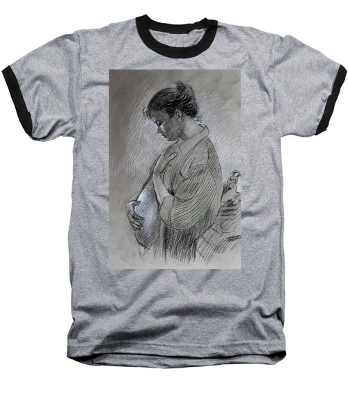 Baseball T-Shirt featuring the drawing In The Family Way by Viola El