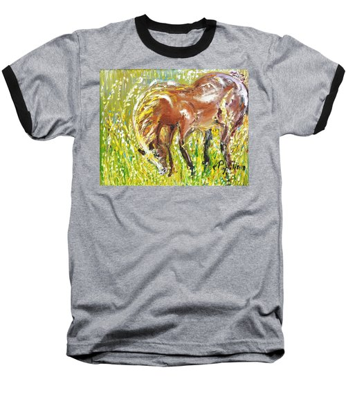 In The Field Baseball T-Shirt by Evelina Popilian