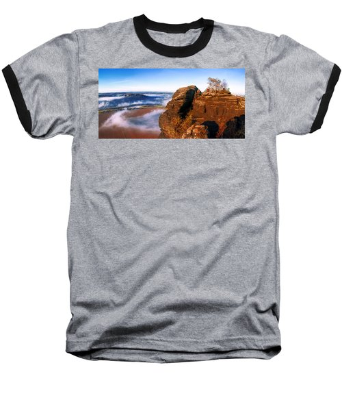 In The Sun Glowing Rock On The Lilienstein Baseball T-Shirt
