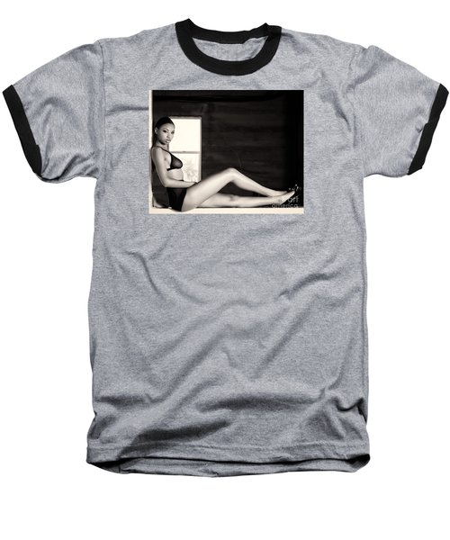 In The Window Baseball T-Shirt by Gregory Worsham