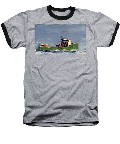 Baseball T-Shirt featuring the painting In Tow by Molly Poole