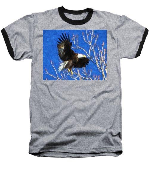 Baseball T-Shirt featuring the photograph Inbound Eagle by John Freidenberg