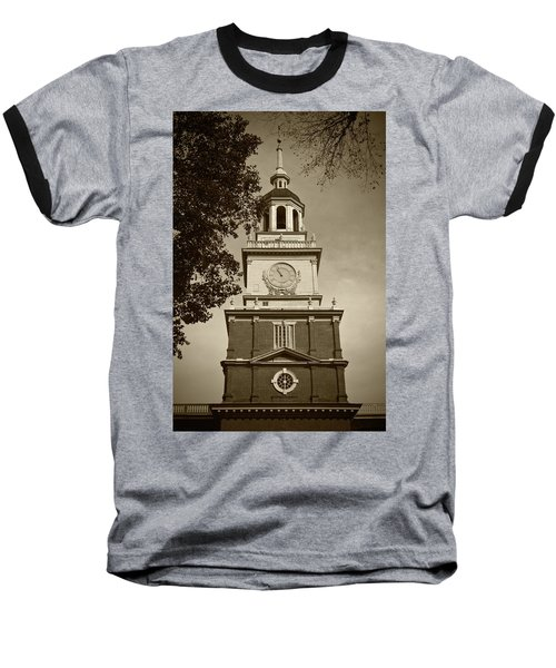 Independence Hall - Bw Baseball T-Shirt by Lou Ford