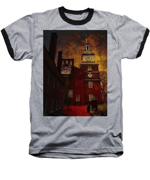 Independence Hall Philadelphia Let Freedom Ring Baseball T-Shirt by Jeff Burgess
