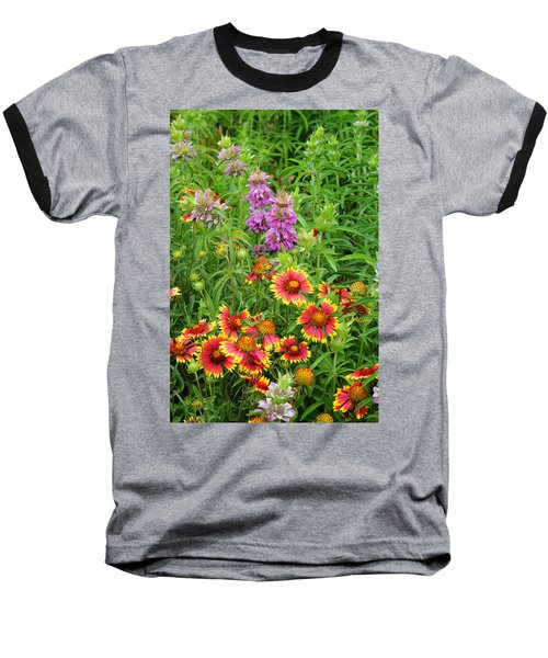 Indian Blankets And Lemon Horsemint Baseball T-Shirt by Lynn Bauer