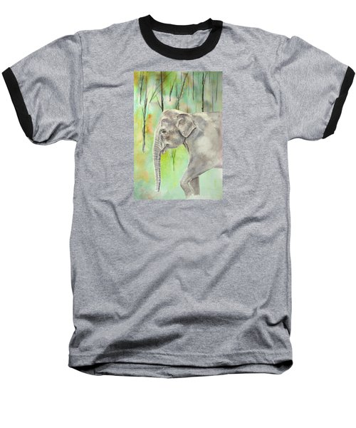 Baseball T-Shirt featuring the painting Indian Elephant by Elizabeth Lock