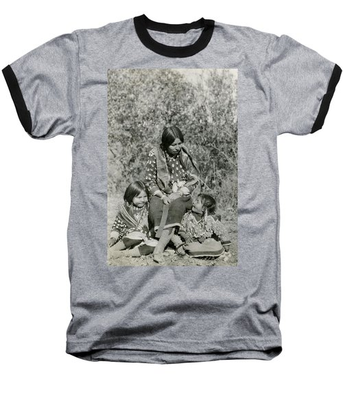 Baseball T-Shirt featuring the photograph Indian Mother With Daughters by Charles Beeler