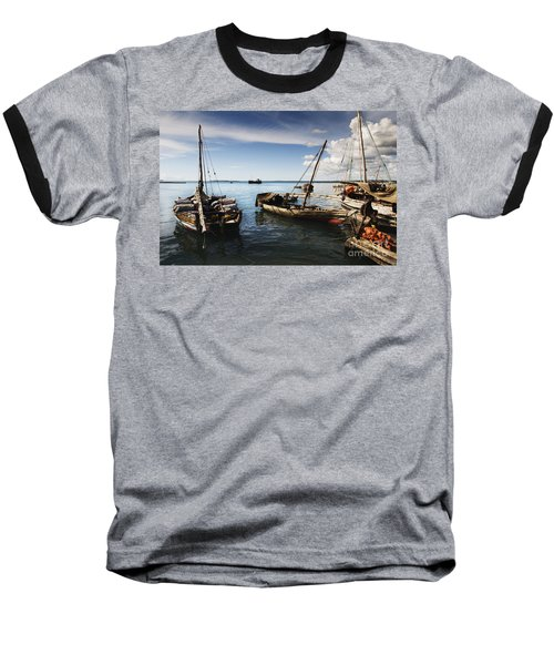 Indian Ocean Dhow At Stone Town Port Baseball T-Shirt by Amyn Nasser