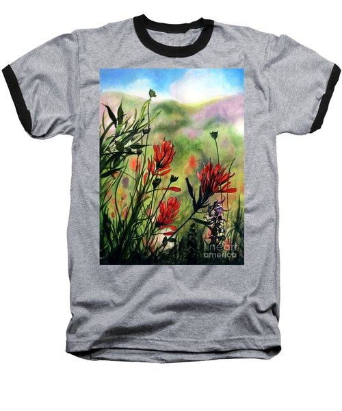 Indian Paint Brush Baseball T-Shirt by Barbara Jewell