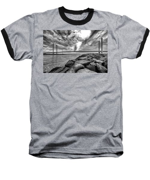 Indian River Bridge Clouds Black And White Baseball T-Shirt
