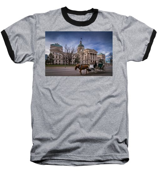 Indiana Capital Building - Front With Horse Passing Baseball T-Shirt