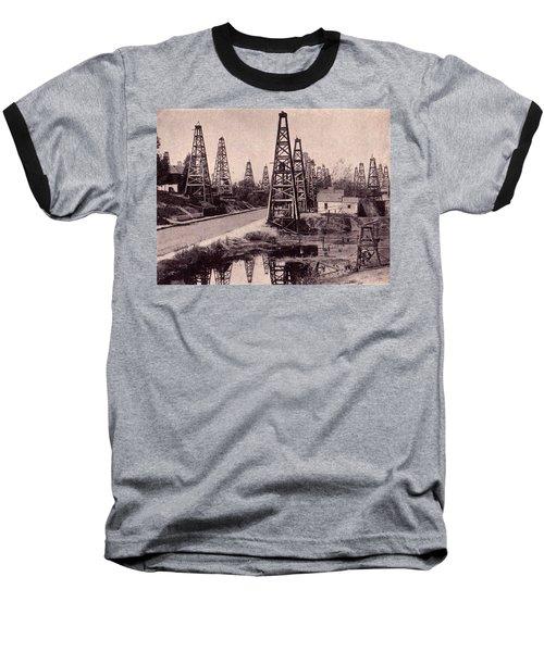 Baseball T-Shirt featuring the drawing Indiana Petroluem Wells Circa 1900 by Peter Gumaer Ogden
