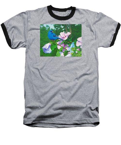 Indigo Bunting  Baseball T-Shirt by Ken Everett