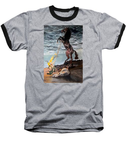Baseball T-Shirt featuring the painting Indomitable Listen With Music Of The Description Box by Lazaro Hurtado