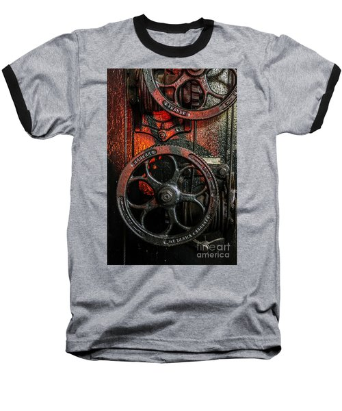 Industrial Wheels Baseball T-Shirt by Carlos Caetano