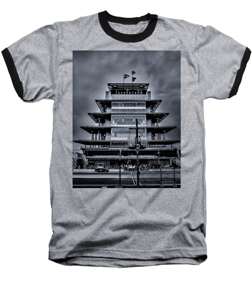 Indy 500 Pagoda - Black And White Baseball T-Shirt