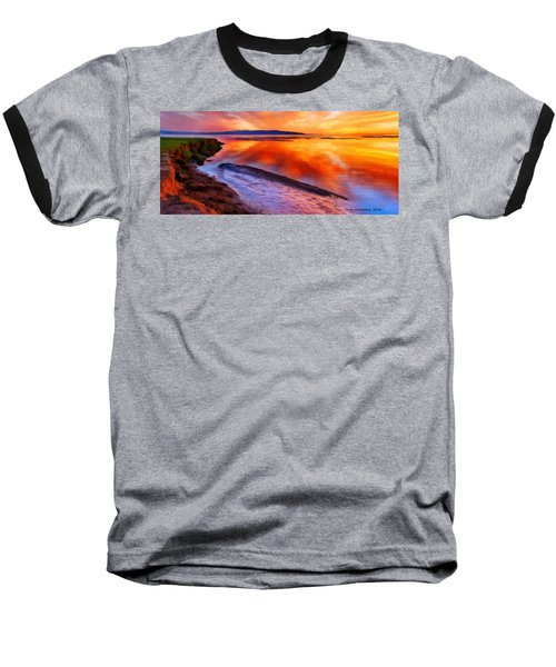 Baseball T-Shirt featuring the painting Inlet Sunset by Bruce Nutting