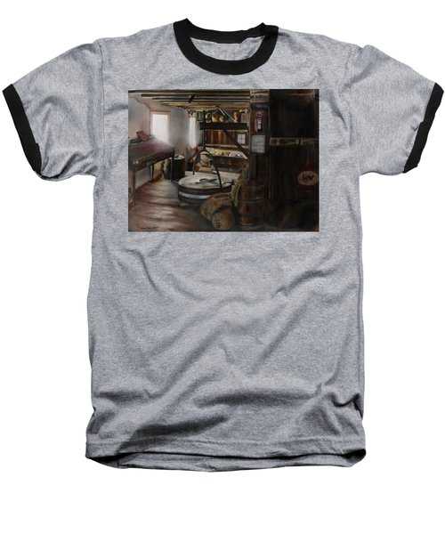 Inside The Flour Mill Baseball T-Shirt by Lori Brackett