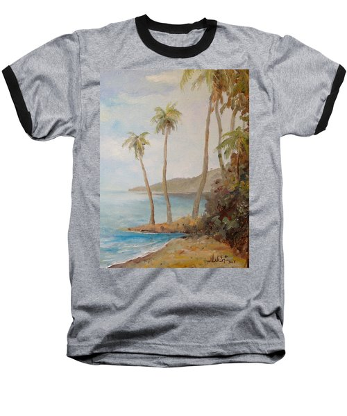 Baseball T-Shirt featuring the painting Inside The Reef by Alan Lakin