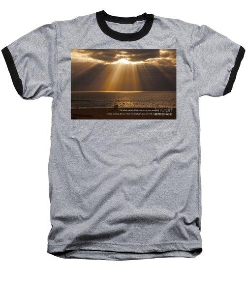 Inspirational Sun Rays Over Calm Ocean Clouds Bible Verse Photograph Baseball T-Shirt by Jerry Cowart