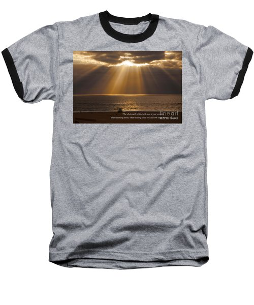 Inspirational Sun Rays Over Calm Ocean Clouds Bible Verse Photograph Baseball T-Shirt