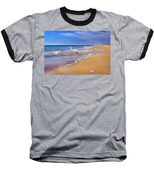 Inspiring Ibis Egret Sandpiper Starfish Sand Dollars  Baseball T-Shirt