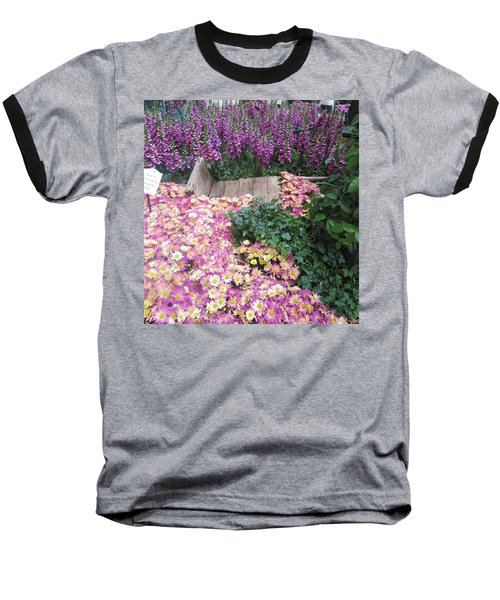 Baseball T-Shirt featuring the photograph Interior Decorations Butterfly Gardens Vegas Golden Yellow Purple Flowers by Navin Joshi
