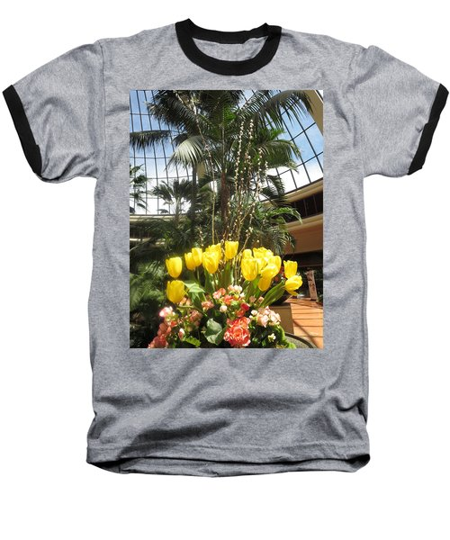 Baseball T-Shirt featuring the photograph Interior Decorations Butterfly Gardens Vegas Golden Yellow Tulip Flowers by Navin Joshi