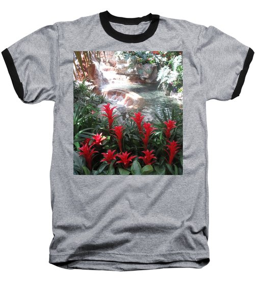 Baseball T-Shirt featuring the photograph Interior Decorations Water Fall Flowers Lights Shades by Navin Joshi