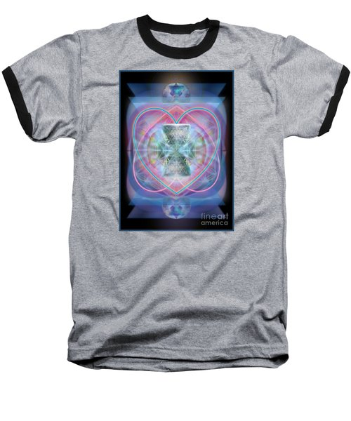 Intwined Hearts Chalice Wings Of Vortexes Radiant Deep Synthesis Baseball T-Shirt by Christopher Pringer
